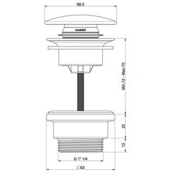 FCR Emporia odpływ umywalkowy z korkiem klik-klak / stałym