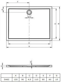RIHO 254 - brodzik płaski 120 x 90 cm, montaż bezpośrednio na posadzce