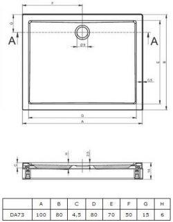 RIHO 273 - brodzik płaski 100 x 80 cm + nóżki i panel