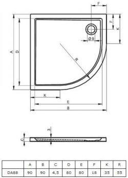 RIHO 280 - brodzik płaski  90 x 90 cm R=55 cm, montaż bezpośrednio na posadzce