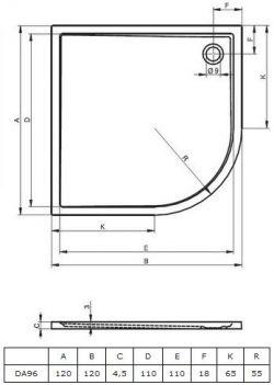 RIHO 288 - brodzik płaski  120 x 120 cm R=55 cm, montaż bezpośrednio na posadzce