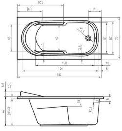 RIHO Columbia - wanna prostokątna 140 x 70 cm