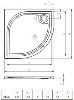 RIHO Kolping 100 x 100 cm - brodzik 1/4 koła + syfon i nóżki