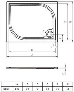 RIHO Kolping 100 x 80 - brodzik prostokątny + syfon i nóżki