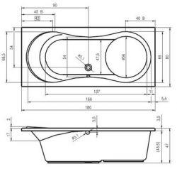 RIHO Tofield - wanna prostokątna 180 x 80 cm