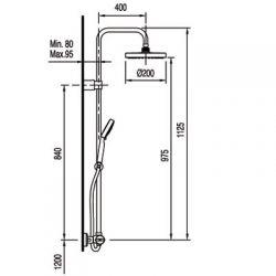 Tres Lex-Tres - zestaw prysznicowy z baterią termostatyczną
