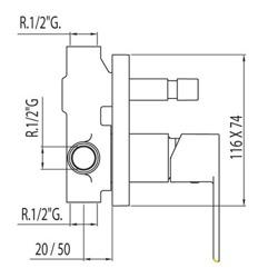 Tres Loft - podtynkowa bateria wannowo-prysznicowa